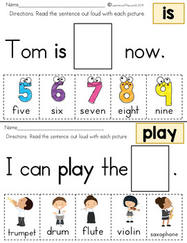 Sight Word Sentences Guided Reading Kindergarten BUNDLE