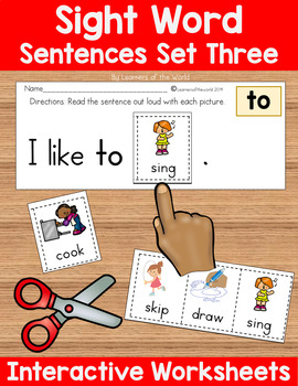 Sight Word Sentences Guided Reading Kindergarten, Set 3