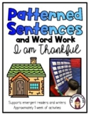 Sight Word Sentences- I am Thankful