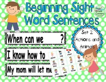 Sight Word Sentences Literacy Center Set 2