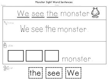 Sight Word Sentences: Monster Edition