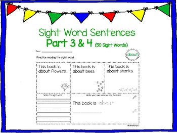 Sight Word Sentences Part 3 & 4 (50 sight words) NO PREP!