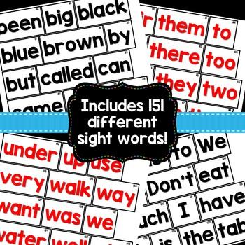 Sight Word Sentences Pocket Chart Cards
