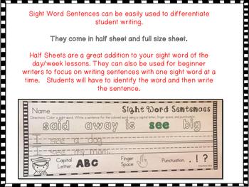 Sight Word Sentences Pre-Primer and Primer Words