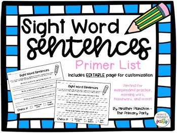 Sight Word Sentences - Primer