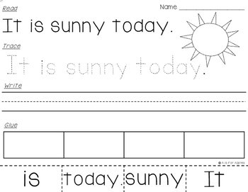 Sight Word Sentences (Fry's) {Read-Trace-Write-Glue}