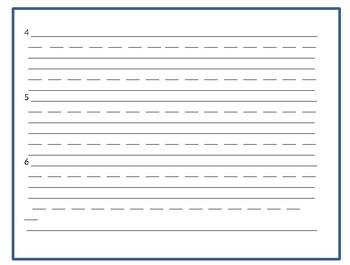 Sight Word Sentences Response Sheet