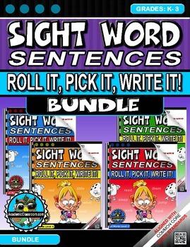 Sight Word Sentences. Roll it, Pick it, Write it, Levels A-D Grades: K-3 -BUNDLE