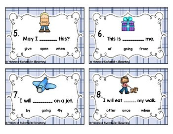 Sight Word Sentences Task Cards: First Grade Set