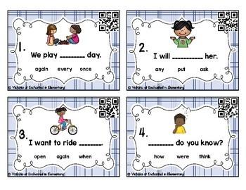 Sight Word Sentences Task Cards: First Grade Set