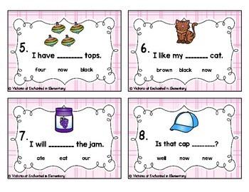 Sight Word Sentences Task Cards: Primer Set