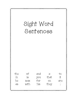 Sight Word Sentences: Volume One