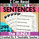 Sight Word Sentences Worksheets BUNDLE