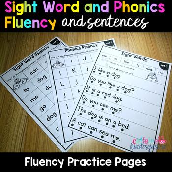 Sight Word Fluency Sentences and Phonics Fluency