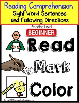 Sight Word Sentences for BEGINNERS with Data and IEP Goal for Special Education