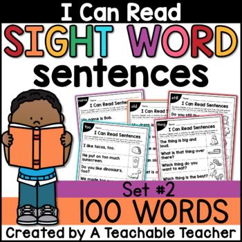 Sight Word Sentences for Sight Word Fluency {Set 2}