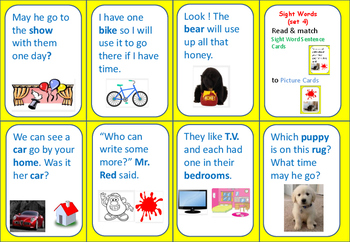 Sight Word Sentences (set 4)  Match Game-  Exit Ticket - Reading Center