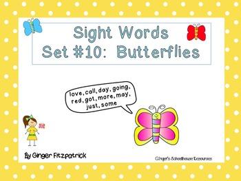 Sight Word Set #10 Butterflies