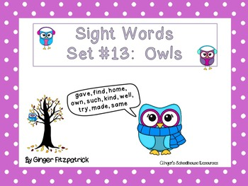 Sight Word Set #13 Owls