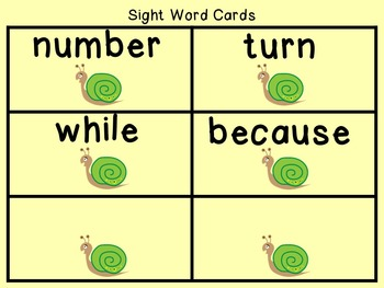 Sight Word Set #17 Snails