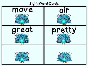 Sight Word Set #19 Peacocks
