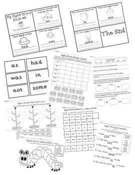 Sight Word Activity Set #3 *5 days of activities* BOB Books