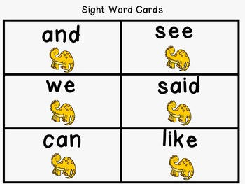 Sight Word Set #3 Dinosaurs