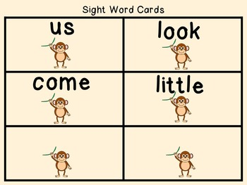 Sight Word Set #4 Monkeys