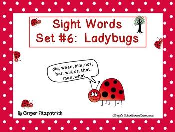 Sight Word Set #6 Ladybugs