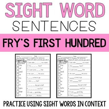 Sight Word Sentences: Fry's First 100
