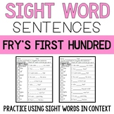Sight Word Sentences: Fry's First 100