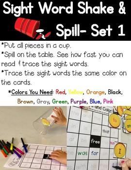 Sight Word Shake & Spill!