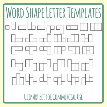 Sight Word Shape Boxes Templates Clip Art Set Commercial Use (1-3 letters)
