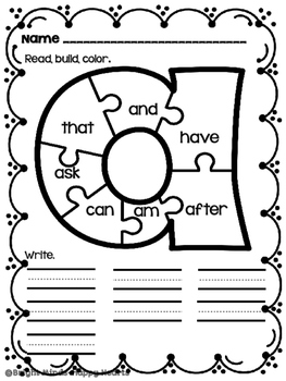 Sight Word  Puzzles - Read It, Build It, Write It, Color It