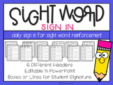 Sight Word Sign In EDITABLE