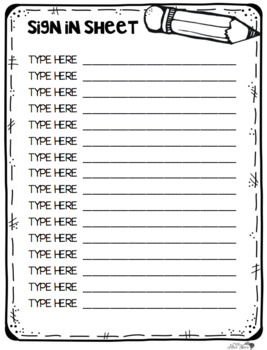 Sight Word Sign In or Out Sheet