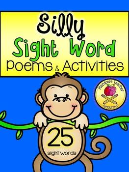 Sight Word Silly Poems & Activities *Kindergarten*