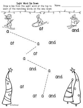 Sight Word Ski Down - Kindergarten Sight Word Activity
