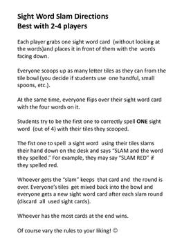 Sight Word Slam Sight Word Game