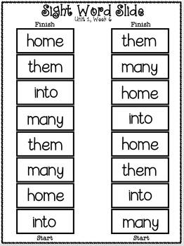 Sight Word Slide: Reading Street Unit 1.6