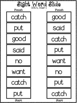 Sight Word Slide: Reading Street Unit 2.1