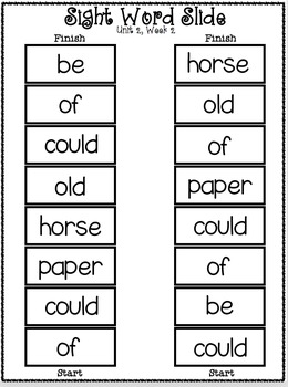 Sight Word Slide: Reading Street Unit 2.2