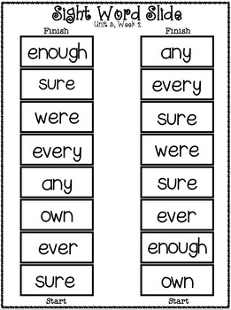 Sight Word Slide: Reading Street Unit 3.2