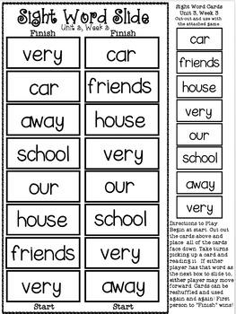Sight Word Slide: Reading Street Unit 3.3