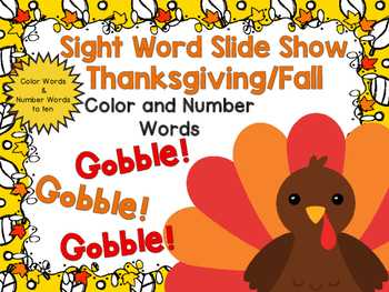 Sight Word Slide Show, Color and Number Words, Fall Fun