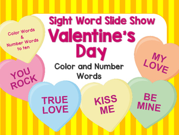 Sight Word Slide Show, Color and Number Words, Valentine's Day