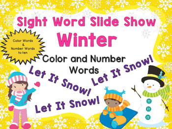 Sight Word Slide Show, Color and Number Words, Winter