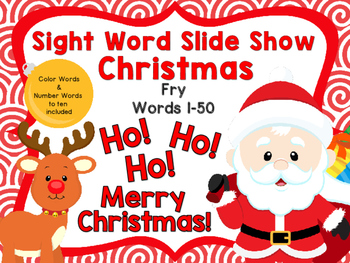 Sight Word Slide Show, Fry's First 100, Words 1-50, Christmas