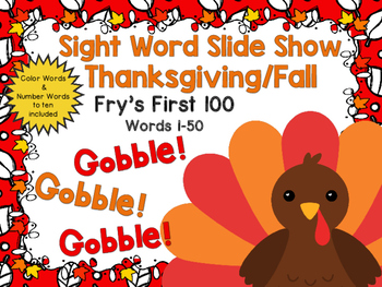 Sight Word Slide Show, Fry's First 100, Words 1-50, Fall Fun