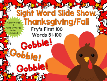 Sight Word Slide Show, Fry's First 100, Words 51-100, Fall Fun